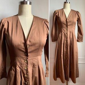 Vintage Inspired Zara Brown Midi Dress
